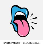 pop art vector speaking red... | Shutterstock .eps vector #1100838368