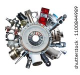 new auto spare parts around... | Shutterstock . vector #1100844989