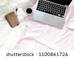 home office in bed with laptop...   Shutterstock . vector #1100861726