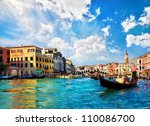 venice grand canal with... | Shutterstock . vector #110086700