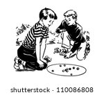 boys playing marbles   retro... | Shutterstock .eps vector #110086808