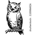 winking owl   retro clipart... | Shutterstock .eps vector #110086826