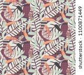 painterly botanical background... | Shutterstock .eps vector #1100871449