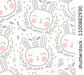 cute bunny seamless pattern....   Shutterstock .eps vector #1100882930