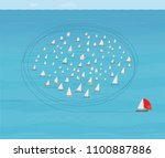 boat with red spinnaker sail...   Shutterstock .eps vector #1100887886