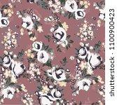 vintage traditional pink rose...   Shutterstock .eps vector #1100900423