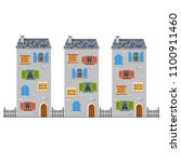 three high vector gray houses... | Shutterstock .eps vector #1100911460