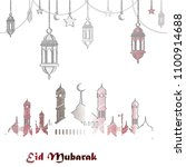 eid mubarak greeting background ... | Shutterstock .eps vector #1100914688