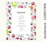 hand drawn fruit and berry... | Shutterstock .eps vector #1100917850
