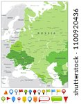 eastern europe map spot green... | Shutterstock .eps vector #1100920436