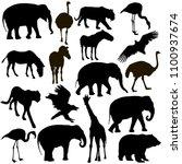 silhouette elephant tiger bear... | Shutterstock .eps vector #1100937674