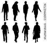black silhouette group of... | Shutterstock . vector #1100942726