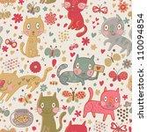 funny cartoon cats. cute...   Shutterstock .eps vector #110094854