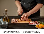 the chef prepares raw quail... | Shutterstock . vector #1100949329