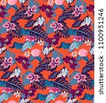 exotic summer pattern with... | Shutterstock .eps vector #1100951246