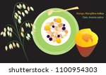 a set of tropical fruits of... | Shutterstock .eps vector #1100954303