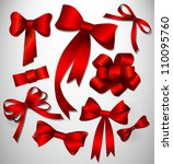 vector bow collection  red | Shutterstock .eps vector #110095760