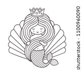 adorable little princess... | Shutterstock .eps vector #1100960090