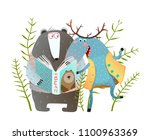 reading book moose and bear.... | Shutterstock .eps vector #1100963369