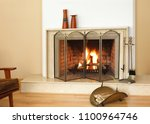 house fireplace with fire | Shutterstock . vector #1100964746