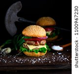 homemade double cheeseburger... | Shutterstock . vector #1100967230
