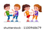 angry preschool boys  girls... | Shutterstock .eps vector #1100968679