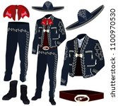 mariachi musician costume parts ... | Shutterstock .eps vector #1100970530