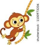 the cute monkey is swinging.... | Shutterstock .eps vector #1100973206