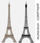 eiffel tower black silhouette | Shutterstock .eps vector #1100974649