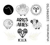 zodiac icons set. horoscope... | Shutterstock .eps vector #1100984750