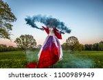 fairy tale woman on stilts in... | Shutterstock . vector #1100989949