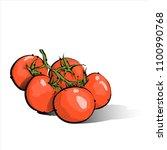 hand draw of cherry tomato.... | Shutterstock .eps vector #1100990768