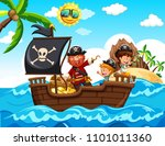 pirate and kids on the boat... | Shutterstock .eps vector #1101011360