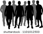 black silhouette of a man. | Shutterstock .eps vector #1101012503