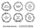 floral wreaths with... | Shutterstock .eps vector #1101012836
