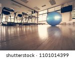 the blue exercise ball placed... | Shutterstock . vector #1101014399