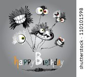 happy birthday bouquet of... | Shutterstock .eps vector #110101598