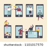 people who use their mobile... | Shutterstock .eps vector #1101017570