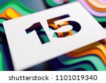 number 15 on mint color and... | Shutterstock . vector #1101019340