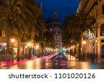 night street view in valencia... | Shutterstock . vector #1101020126