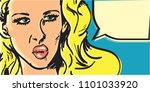 pop art woman banner. angry...   Shutterstock .eps vector #1101033920