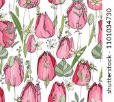 seamless pattern with tulips... | Shutterstock .eps vector #1101034730