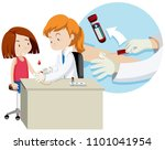 a girl taking blood test... | Shutterstock .eps vector #1101041954