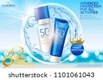 sunscreen spray and cream set... | Shutterstock .eps vector #1101061043