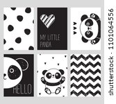 a set of six black and white... | Shutterstock .eps vector #1101064556