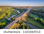 aerial view of a highway and... | Shutterstock . vector #1101065513