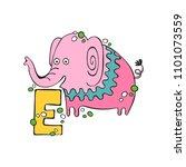 english letter e. elephant.... | Shutterstock .eps vector #1101073559