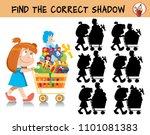 cute little girl pushes a... | Shutterstock .eps vector #1101081383