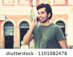 hipster man at phone in...   Shutterstock . vector #1101082478