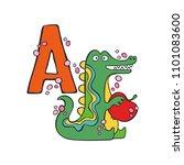 english letter a. aligator.... | Shutterstock .eps vector #1101083600